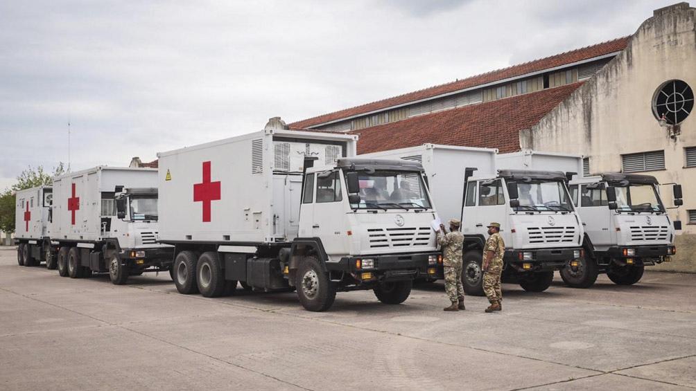 Cafiero, Vizzotti y Agustín Rossi recorrieron los módulos que conforman el Hospital Móvil donado por China.