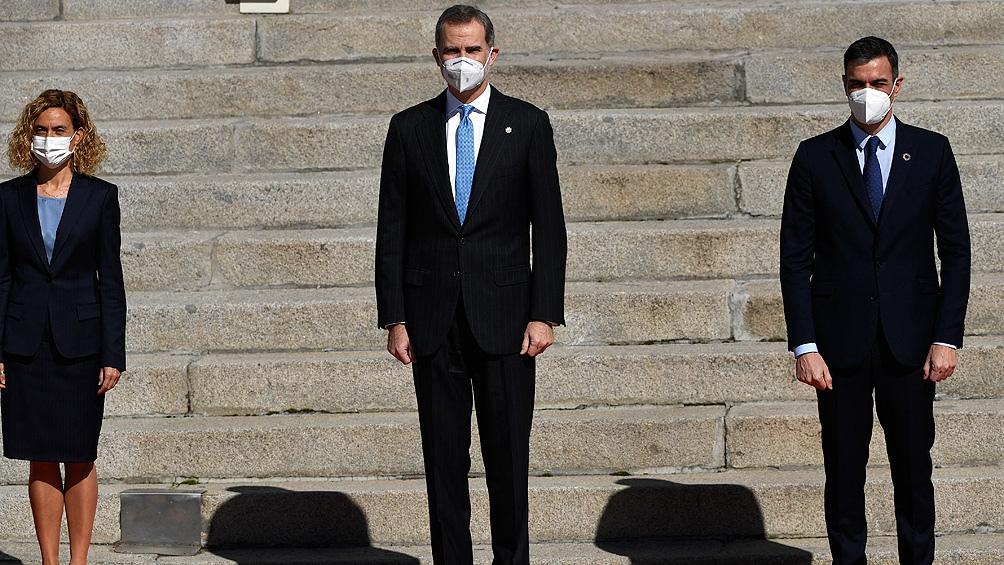 """La conmemoración del """"Tejerazo"""" contó con el rey Felipe VI, su esposa, Letizia Ortiz, y el jefe de Gobierno, Pedro Sánchez."""