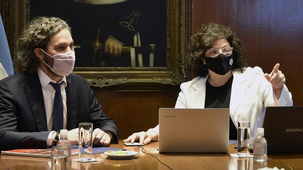 La ministra encabezó en la Casa Rosada el primer encuentro del Consejo Federal de Salud, del que participó el jefe de Gabinete, Santiago Cafiero.