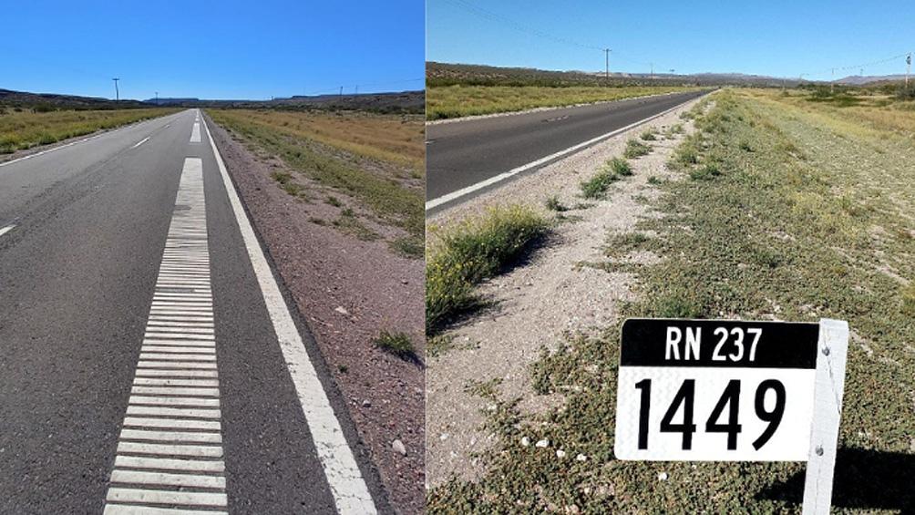 """El """"asfaltófono"""" suena en el Km 1449 de la Ruta 237 (Foto Municipalidad de Piedra del Águila)"""