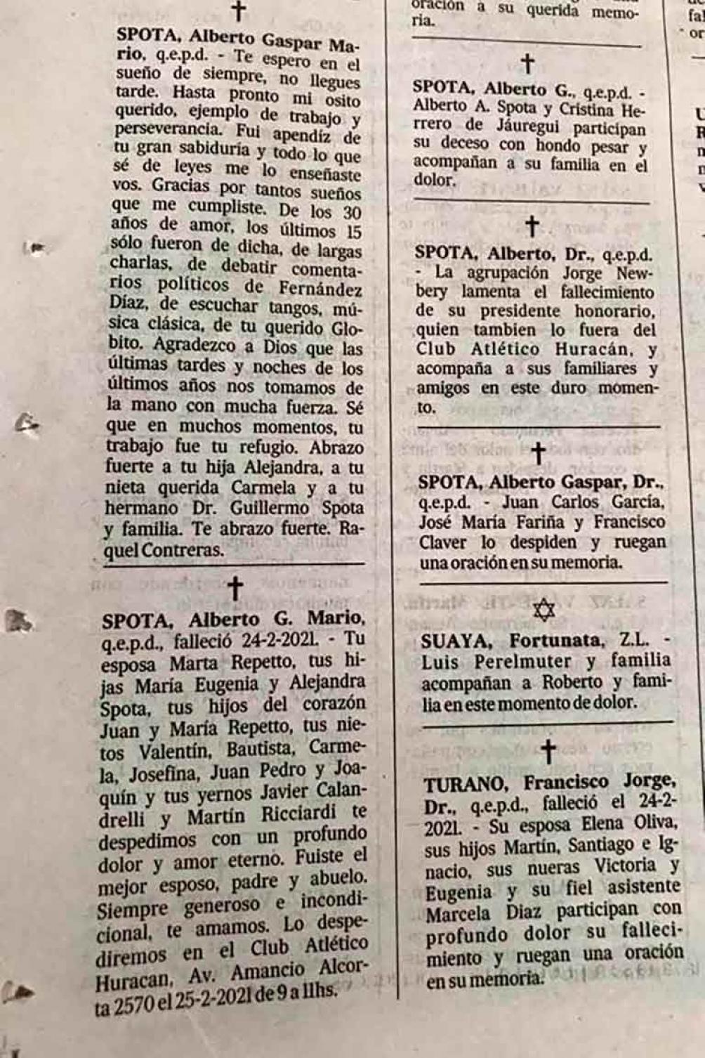 El aviso fúnebre publicado en La Nación, con los mensajes a Spota de su esposa y Raquel Contreras