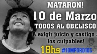 Convocan a una marcha en el Obelisco para pedir justicia por Maradona