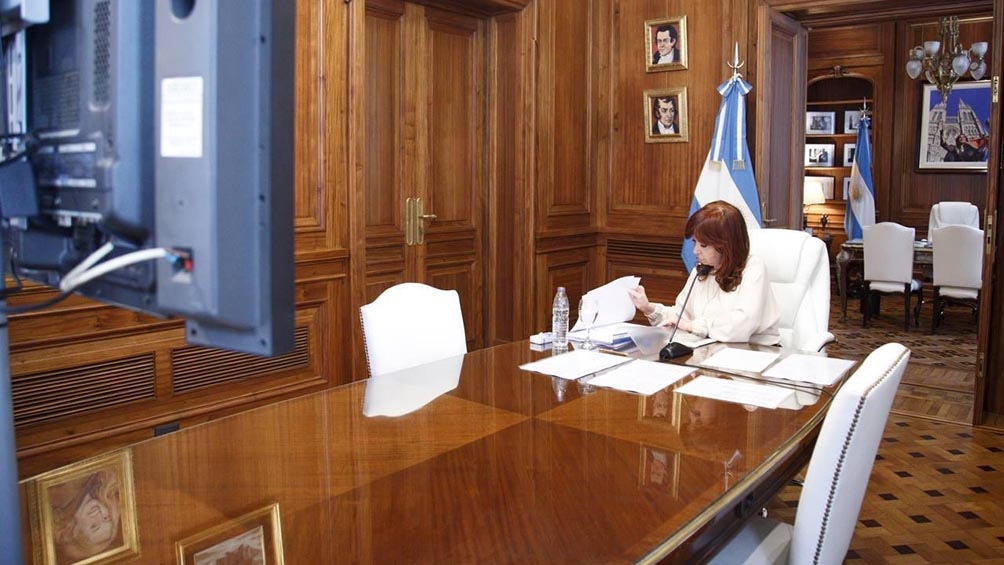 Cristina Fernández de Kirchner, durante la audiencia virtual de comienzos de marzo.