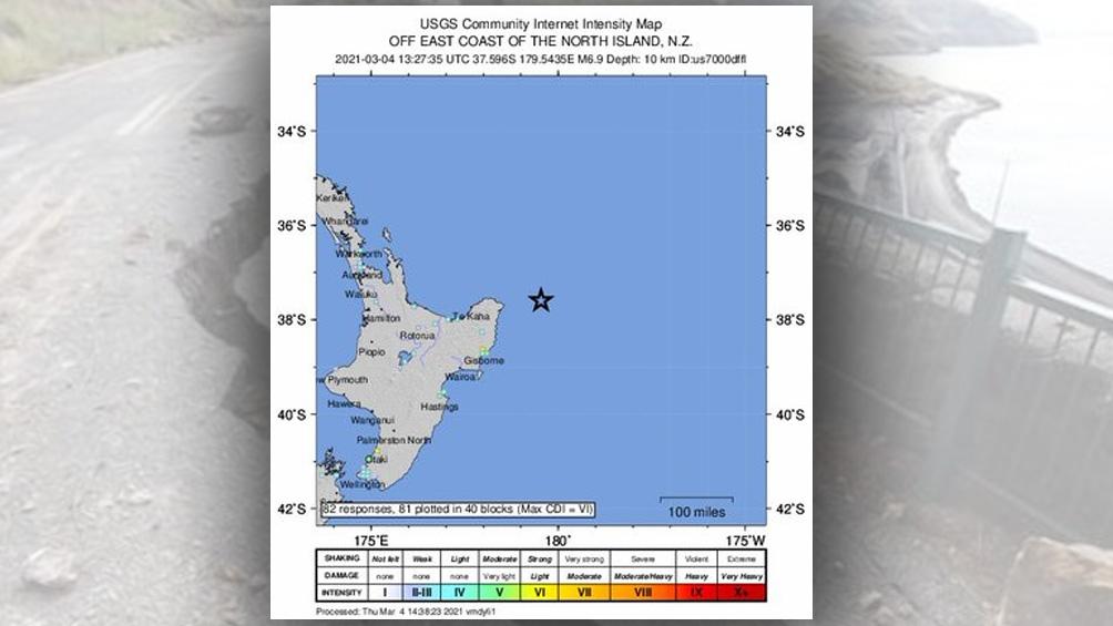 El sismo tuvo lugar a 180 kilómetros al noreste de la ciudad de Gisborne, en Nueva Zelanda.