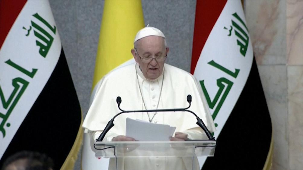 """Uno de los discursos del papa Francisco en suelo iraquí, en el que rechazó la """"injerencia extranjera""""."""