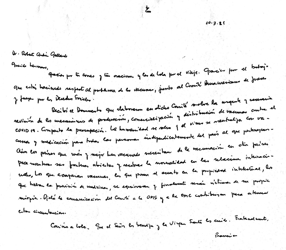 Carta del Papa al Comité Panamericano de Jueces.