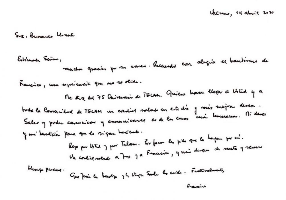 Carta manuscrita del Papa a Télam, por sus 75 años de historia.