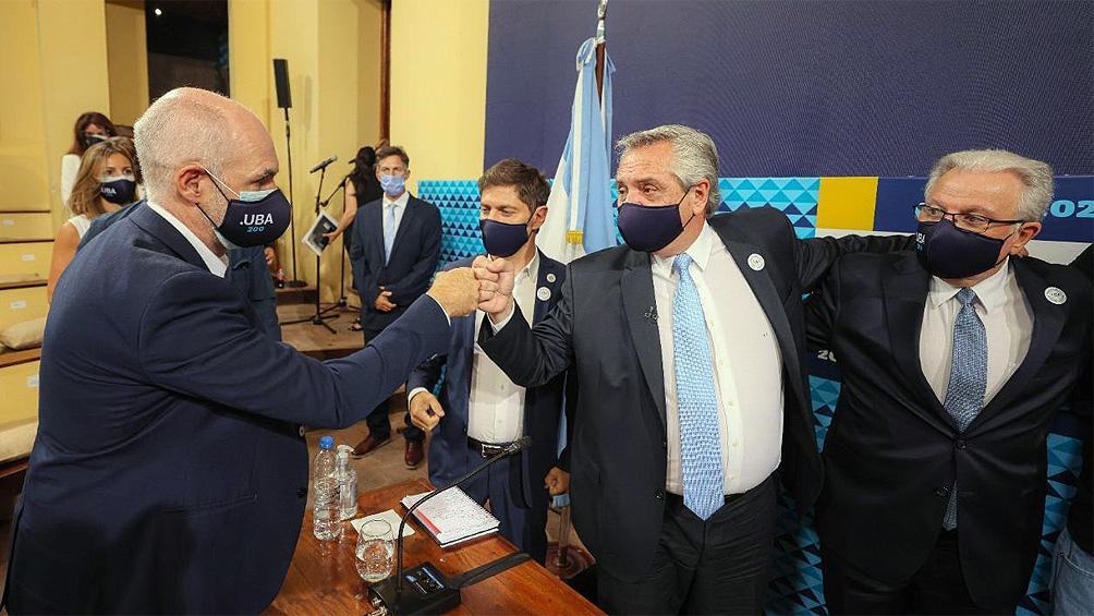 Jefe de Gobierno Rodríguez Larreta, Presidente Alberto Fernández, Gobernador Axel Kicillof y Rector Alberto Barbieri