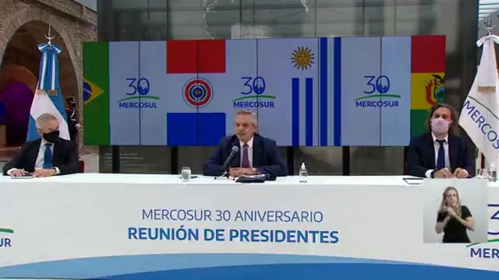 La última reunión virtual de presidentes por el aniversario del bloque.