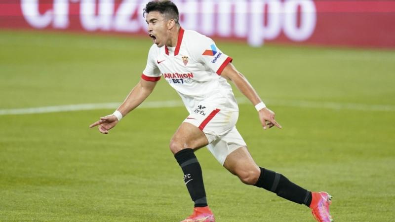 Acuña marcó el gol del triunfo de Sevilla ante el líder Atlético Madrid de Simeone