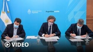 Cafiero, De Pedro y Uñac firmaron un convenio para mejorar la conectividad en San Juan