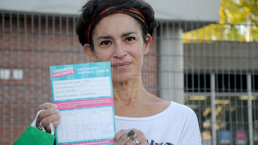 Mara Sosa, de 48 años, se vacunó por ser docente el 5 de marzo con la vacuna de Sinopharm.
