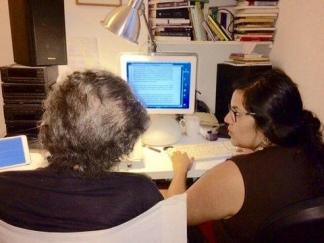 Fernández y Piglia, en pleno proceso.