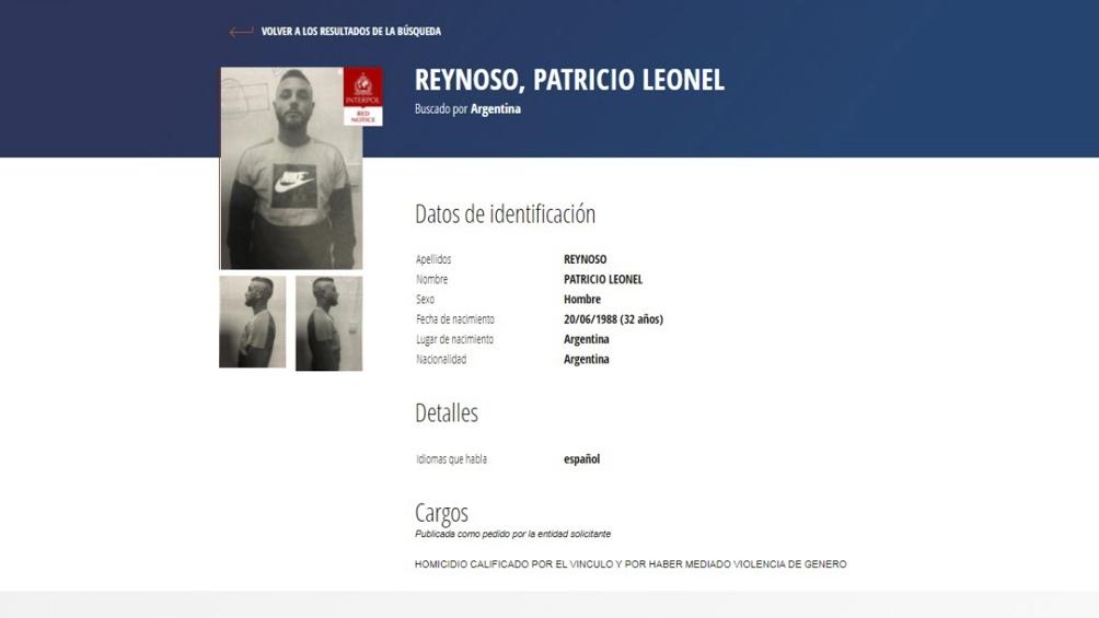 Reynoso ingresó a la lista de alertas rojas de los más buscados por Interpol