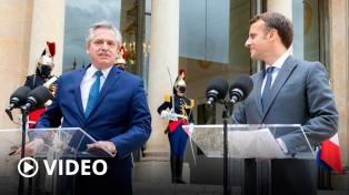 """Fernández logró un fuerte apoyo de Macron para la Argentina: """"Francia está de su lado"""""""