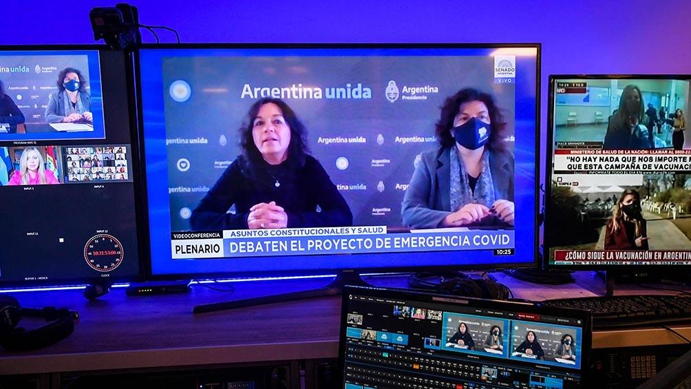 Carla Vizzotti y Vilma Ibarra durante su argumentación a favor del proyecto en el plenario de comisiones.