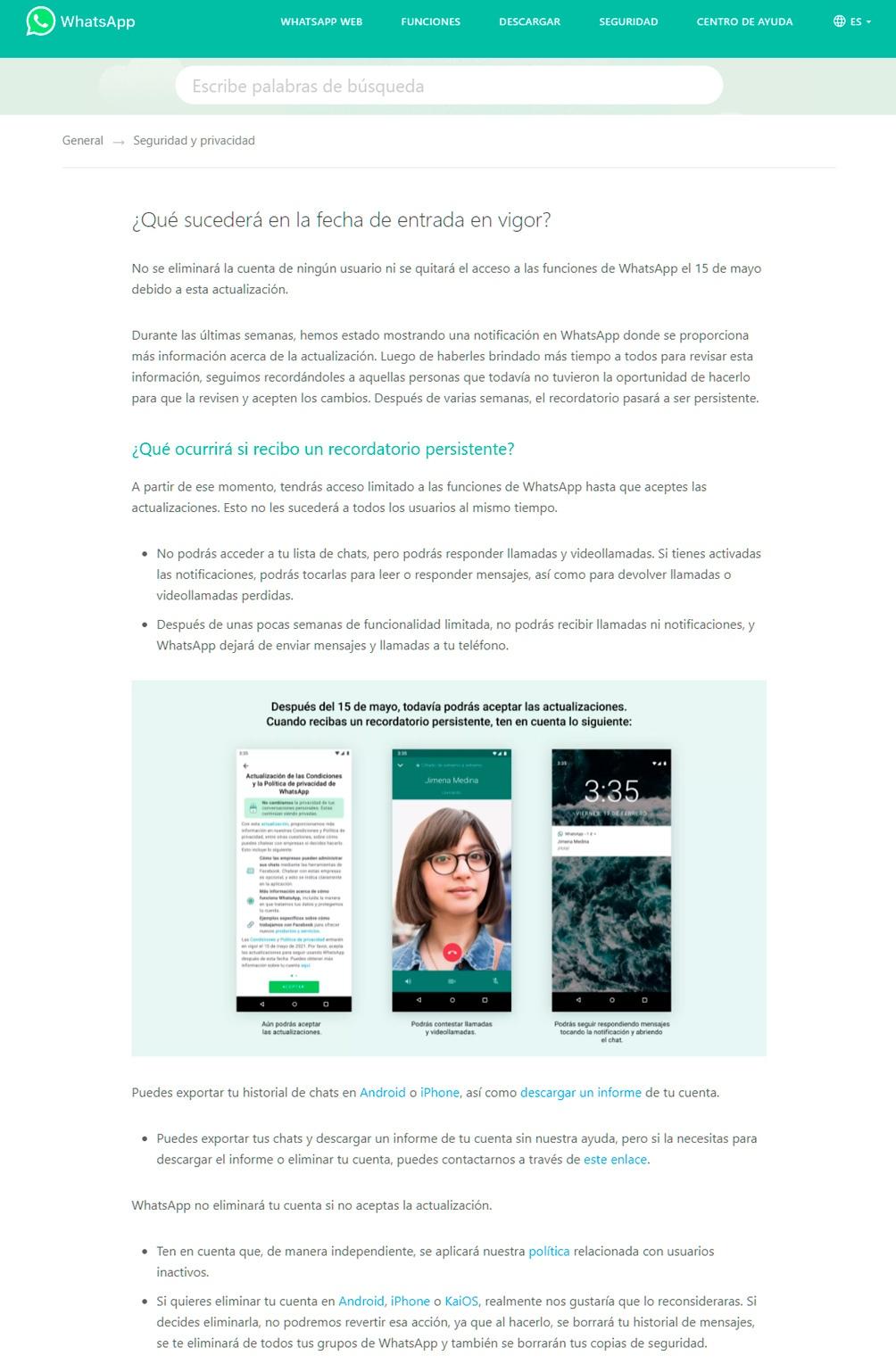 Los anuncios del cambio que reciben los usuarios.