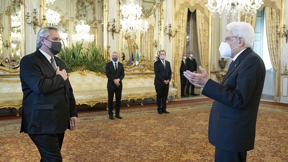 El Presidente almorzó con Mattarella y se reúne con Draghi