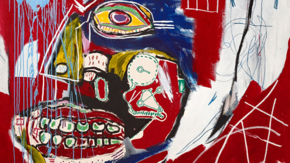 De grandes dimensiones, se trata de un lienzo de fondo rojo vivo con una calavera con pinceladas azules, blancas y amarillas y un enorme ojo que mira fijamente al espectador.