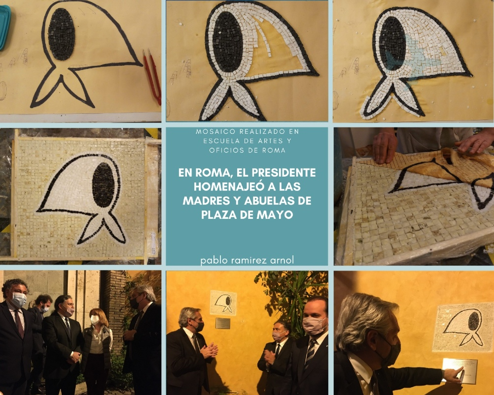 El mosaico simboliza la lucha por la memoria, la verdad y la justicia, de las Madres y Abuelas de Plaza de Mayo.
