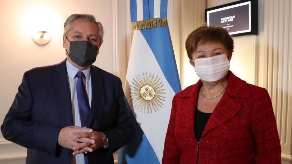 El presidente Alberto Fernández y la titular del FMI, Kristalina Georgieva, compartieron una reunión en Roma.