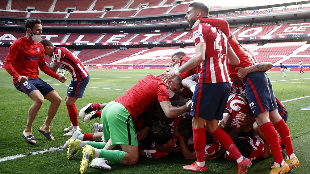 Atlético Madrid festeja que quedó cerca de lograr la Liga.