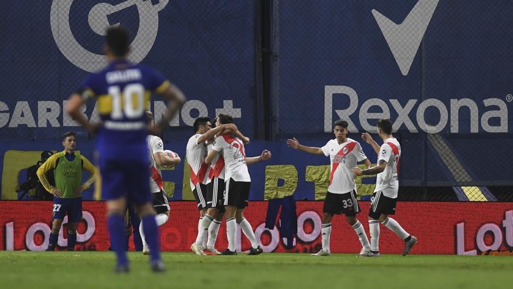River festeja el empate en la Bombonera.