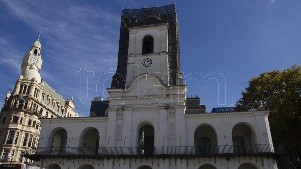 El Cabildo porteño hoy, mayo de 2021, en plena remodelación (Lara Sartor/Télam).