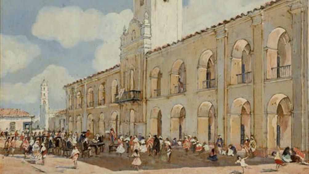 """""""Almoneda pública de esclavos en la Plaza Mayor, 1760"""", obra que se encuentra en el Museo Histórico Brigadier General Cornelio de Saavedra."""