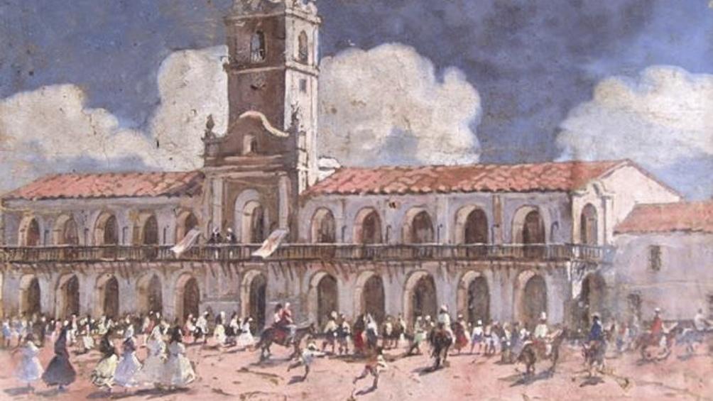 """""""Cabildo"""", pintura de 30 x 40 centímetros."""