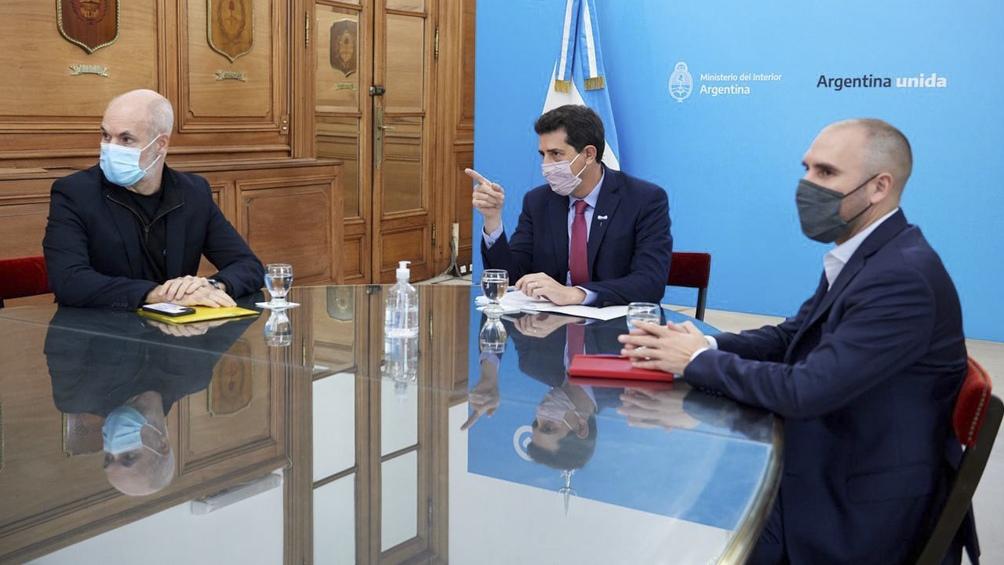 """Reunión entre los ministros de Interior y de Economía, Eduardo """"Wado"""" de Pedro y Martín Guzmán, con el jefe de Gobierno porteño, Horacio Rodríguez Larreta."""