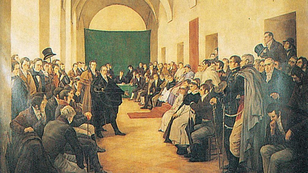 """""""El Cabildo Abierto del 22 de mayo de 1810"""", obra del pintor Pedro Subercaseaux, nacido en Italia y de nacionalidad chilena."""