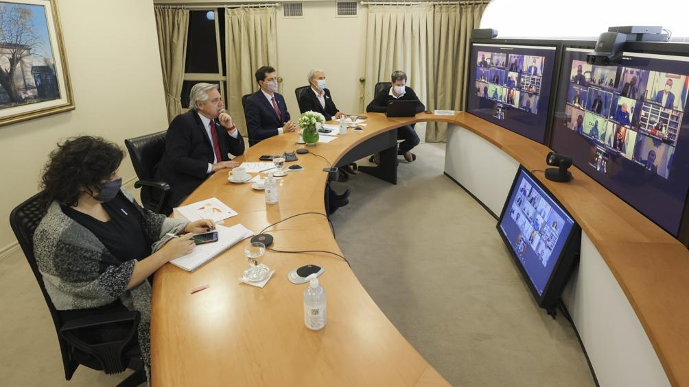 El encuentro del martes, con el primer grupo de gobernadores.