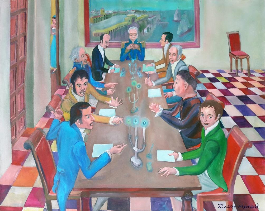 """""""Primera Junta de 1810"""", de Diego Manuel Rodríguez. (Acrílico sobre lienzo, 80 x 100 cm, año 2010)."""