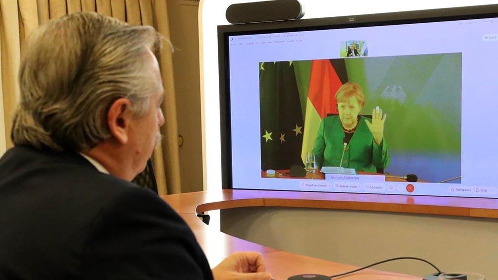 La videoconferencia de Alberto Fernández con la canciller alemana, Angela Merkel.