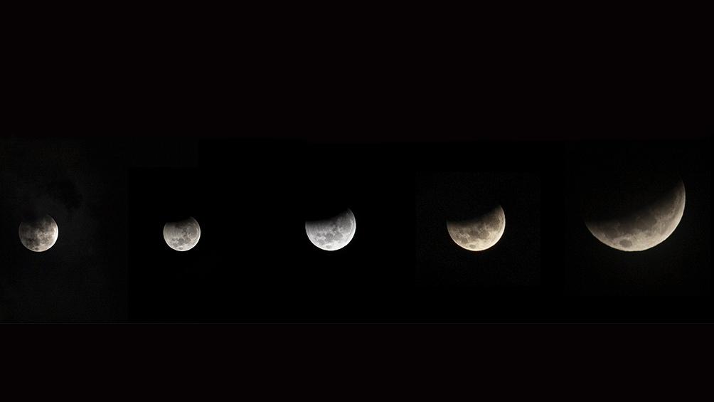 """La """"Superluna roja"""" se observó a las 6.45."""