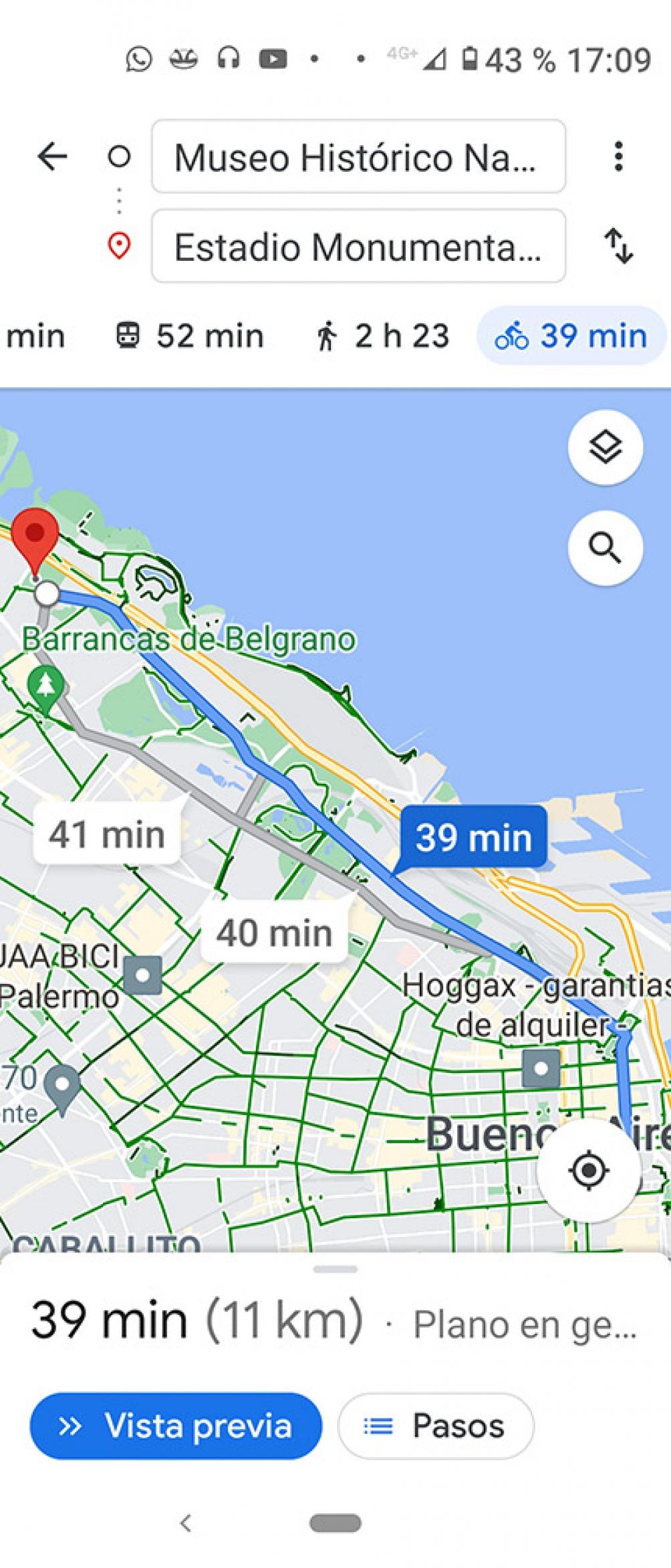 En horas pico, viajar desde el microcentro a Núñez es casi quince minutos más rápido en bicicleta que en transporte público.