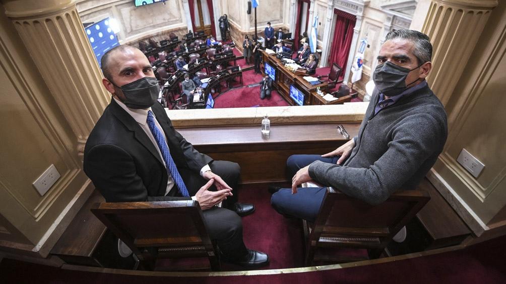 El ministro de Economía Martín Guzmán presenció el debate en el Congreso sobre las modificaciones de Ganancias que fueron aprobadas en julio. .