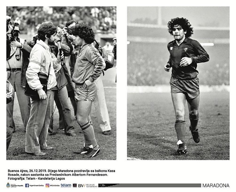 """""""Maradona"""" resume la vida del astro a través de sus fotos más icónicas realizadas por fotoperiodistas de Télam. Foto: Candelaria Lagos."""