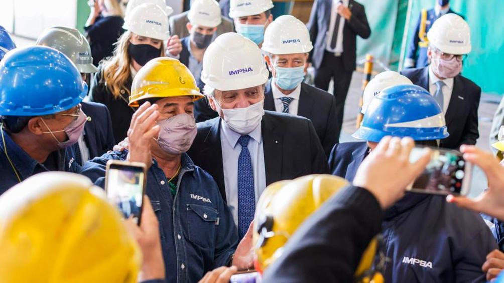 El presidente Alberto Fernández encabezó el acto en el que se formalizó la capitalización a manos del Estado de la empresa mendocina Impsa