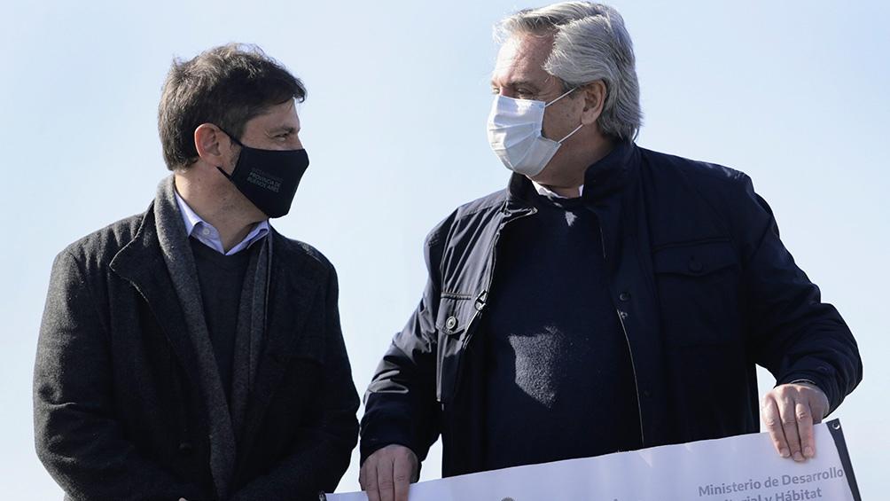 O presidente Alberto Fernández e o governador Axel Kicillof