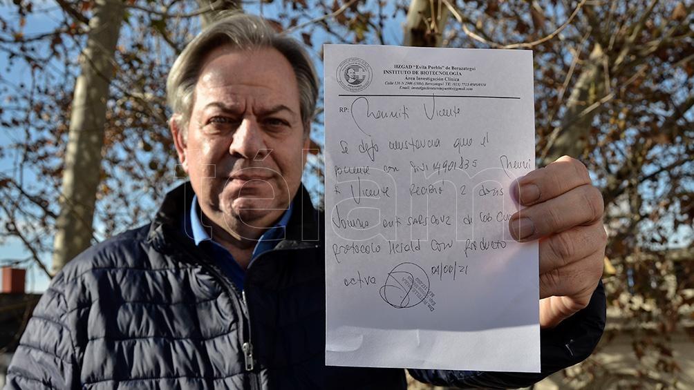 Vicente Menniti,  participante del ensayo de la vacuna CureVac