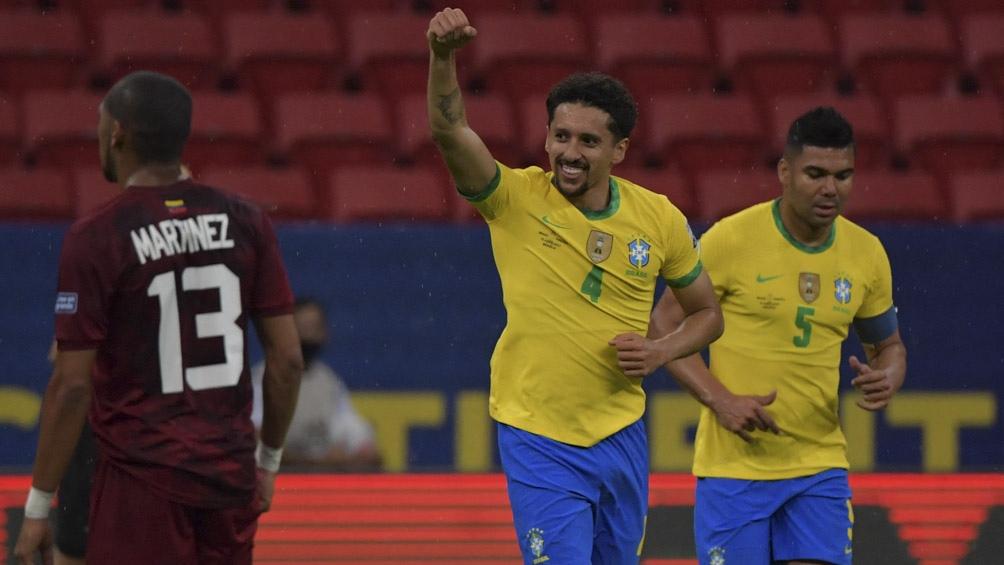 Marquinhos abrió la cuenta en el marcador para Brasil ante Venezuela (foto IG Marquinhos5)