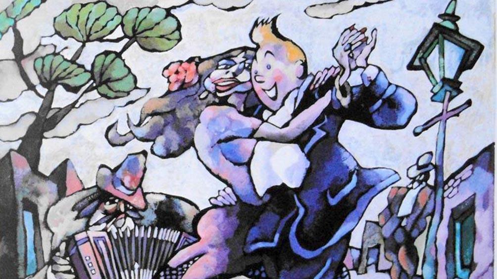 """""""Tintin y la Reina del Tango"""" (1987), de Alberto Breccia."""