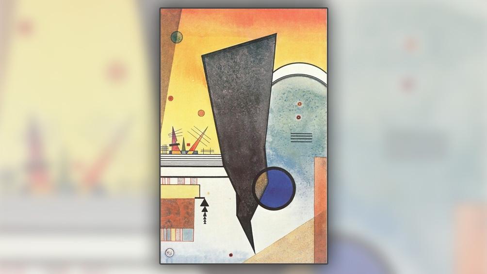 """Sobre un fondo color maíz y de austeras composiciones geométricas, la obra titulada """"Gebogene Spitzen"""" (su traducción """"Puntas dobladas"""") significa uno de los trabajos sobre papel más cotizados del artista."""