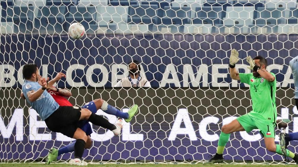 Suárez y el gol de Uruguay ante Chile (Foto: @CopaAmerica)