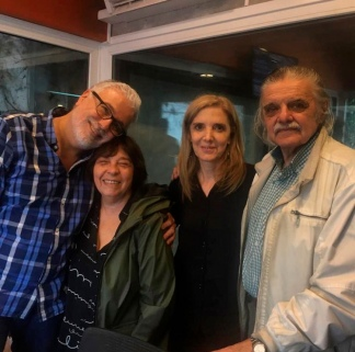 Hace dos años, en los estudios de la 750, Horacio González y Liliana Herrero, con Claudio Villarruel y Bernarda Llorente.