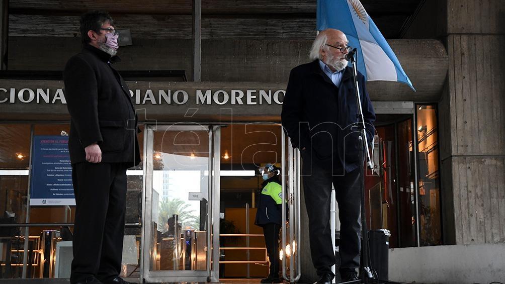 El actual director de la Biblioteca Nacional, Juan Sasturian, en el homenaje a Horacio González.