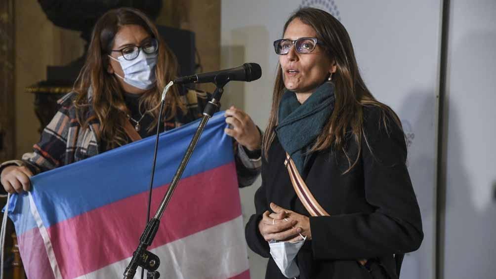 Gómez Alcorta durante el tratamiento del cupo laboral travesti trans en el Senado.