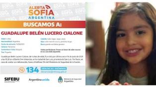 Buscan a la niña Guadalupe Lucero en Mendoza y San Luis